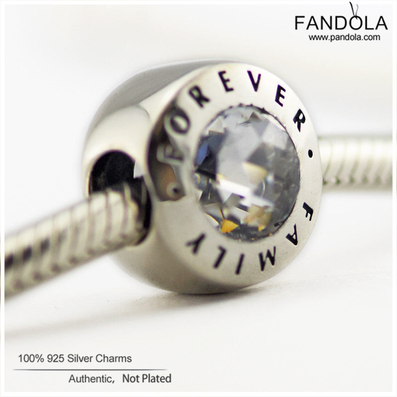 121ca0a0d Fits Pandora Bracelets Authentic 925 Sterling-Silver-Jewelry Family Forever  Charm Beads With Clear ...
