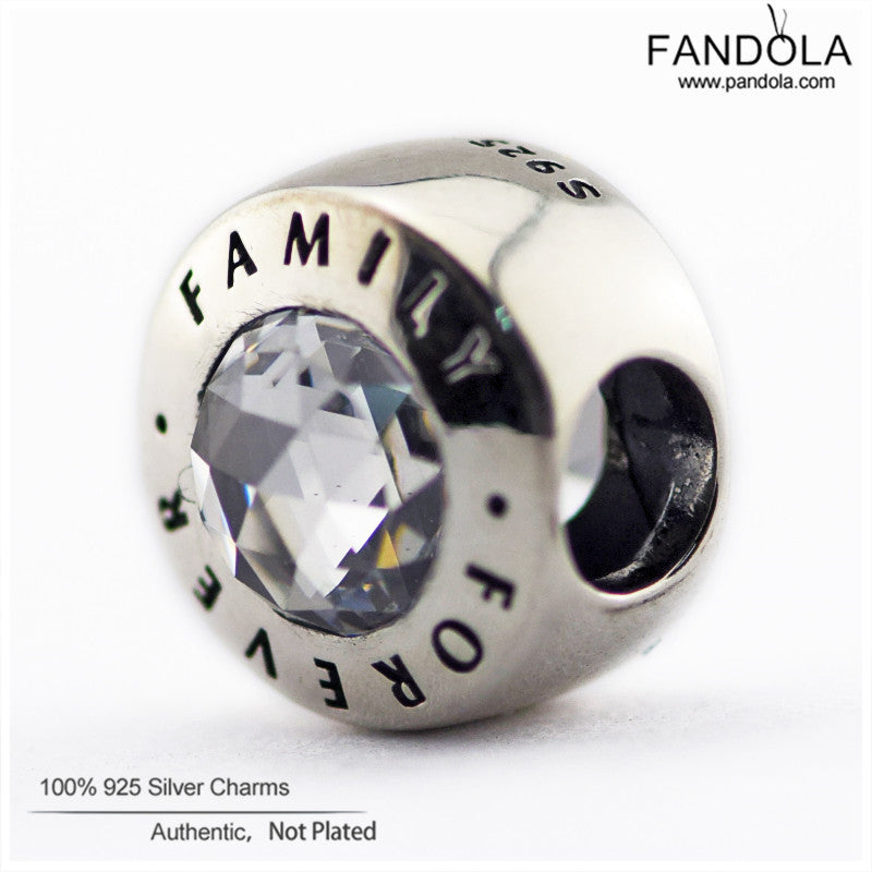 fcfe21b13 ... Fits Pandora Bracelets Authentic 925 Sterling-Silver-Jewelry Family  Forever Charm Beads With Clear ...