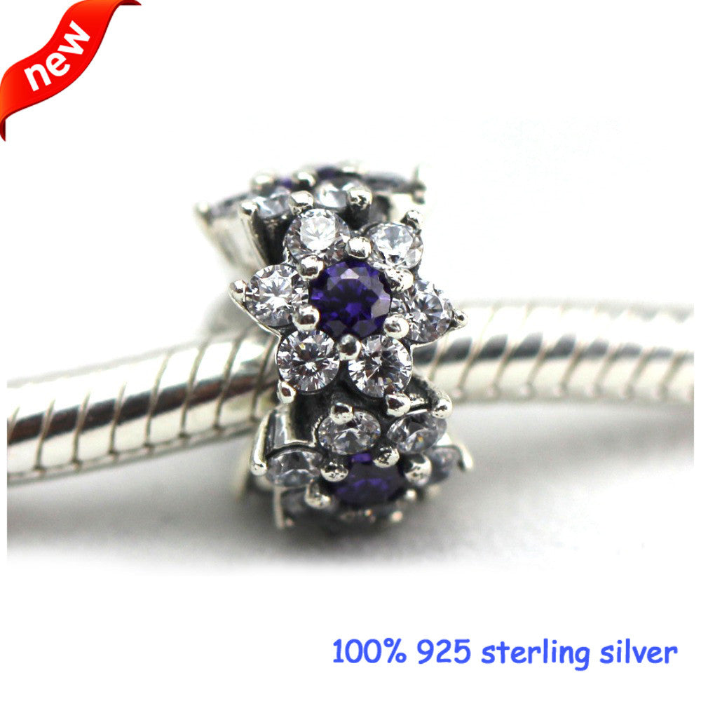 e0c4abb01 Fits Pandora Bracelets Forget Me Not Spacer Silver Beads with Clear CZ 100%  925 Sterling ...