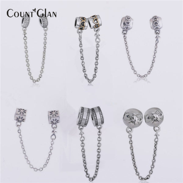 5813d09cc ... uk fits pandora bracelets safety chain silver beads new original 100  925 sterling silver clear cz