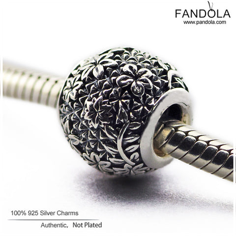 884000947 Fits Pandora Charms Bracelet 100% 925 Sterling Silver Epcot Flower Garden  Beads Charms Women DIY