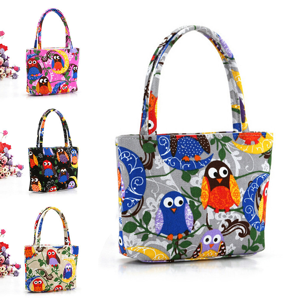 bb9996b8d0ee Floral And Owl Printed Women's Casual Tote Female Daily Use Female Shopping  Bag Ladies Single Shoulder ...