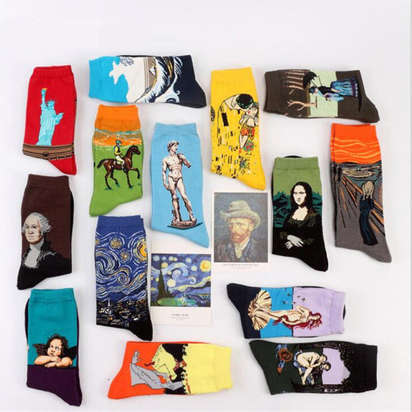 9dd6e4e1cec Free Shipping Fashion Art Cotton Crew Socks Painting Character Pattern for  Women Men Harajuku Design Sox Calcetines Van Gogh
