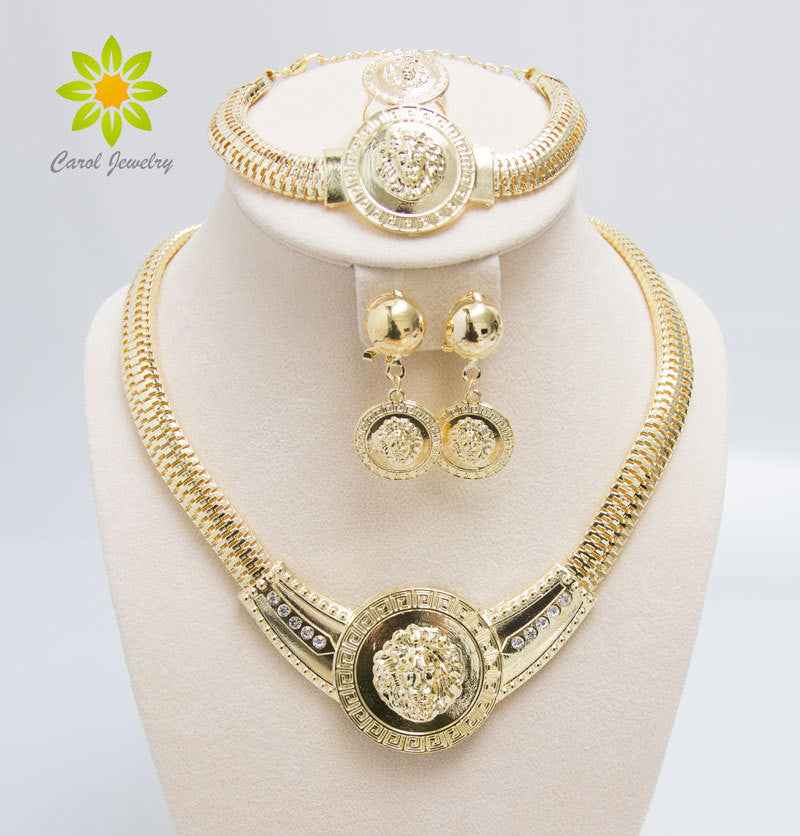 0a74c604897 Free Shipping Fashion Lionhead African Beads Jewelry Set Gold Color Cr –  Raja Indonesia