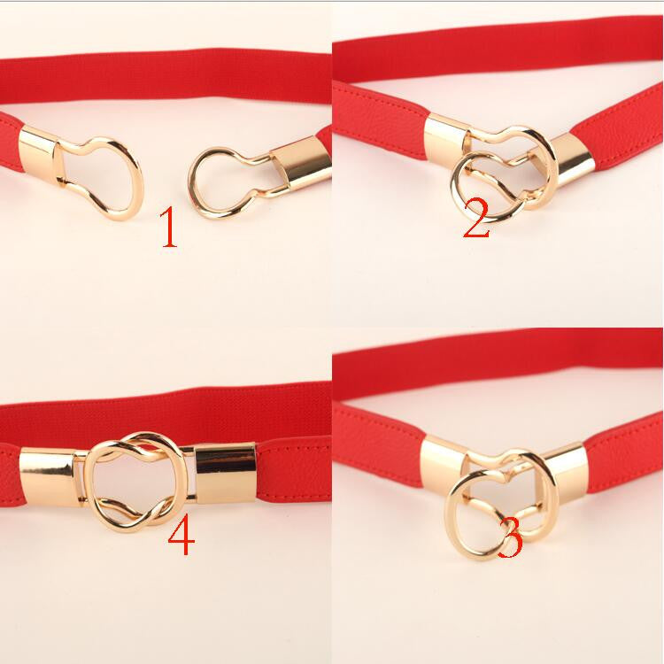 Small Gold Women Fashion Stretchy Belt with Buckle