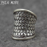 Fyla Mode 925 Jewelry Antique Thai Silver Ring Fine Fashion Weaving Net Silver Jewelry Ring Women Men Gift Finger Rings PKY253
