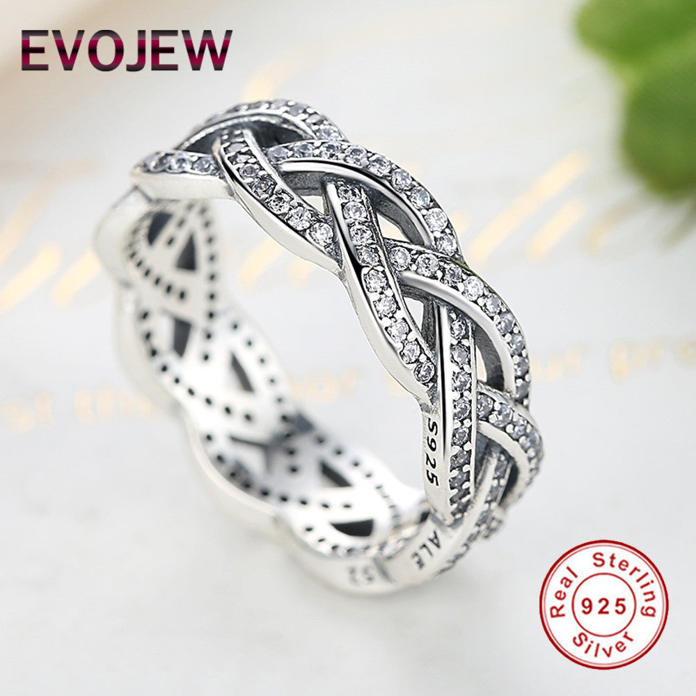 Genuine 100% 925 Sterling Silver Eternity Entwined Ring