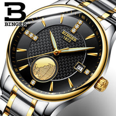 Genuine Switzerland BINGER men waterproof stainless steel leather strap automatic mechanical self-hand watch dial 18K gold