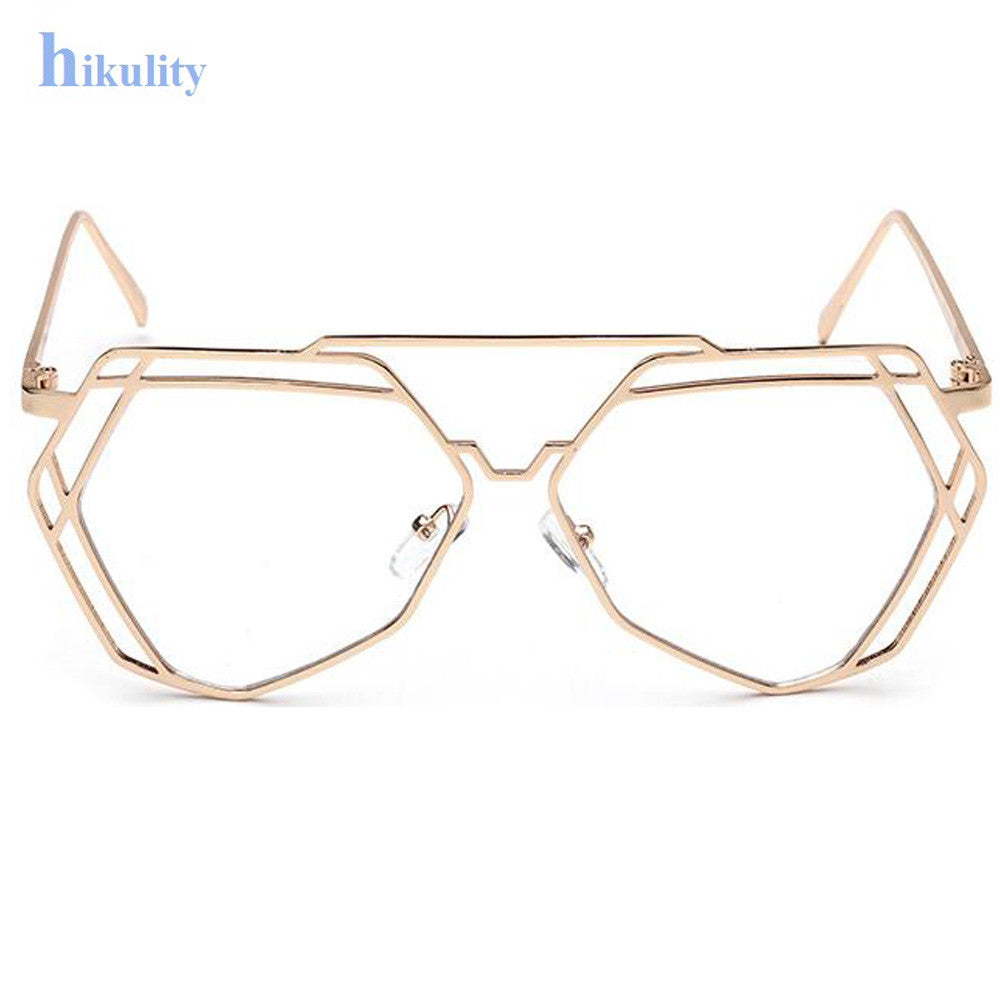 011c7652d18 ... Gold Clear Glasses Women Hexagon Hollow Sexy Clear Glasses Frame  Eyewear Sunglasses Ladies Oversize Polygon Eyeglasses ...