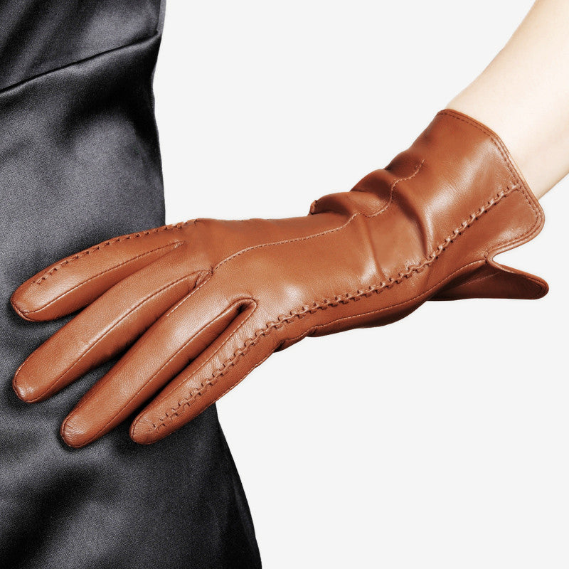 16aebb55f ... High Quality Elegant Women Genuine Lambskin Leather Gloves Autumn And  Winter Thermal Hot Trendy Female Glove ...