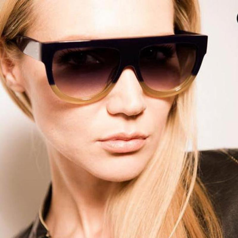 High Quality Women Brand designer Sunglasses Woman Flat Top Mirror Sun Glasses  Cat Eye glasses Fashion ... f488a46387