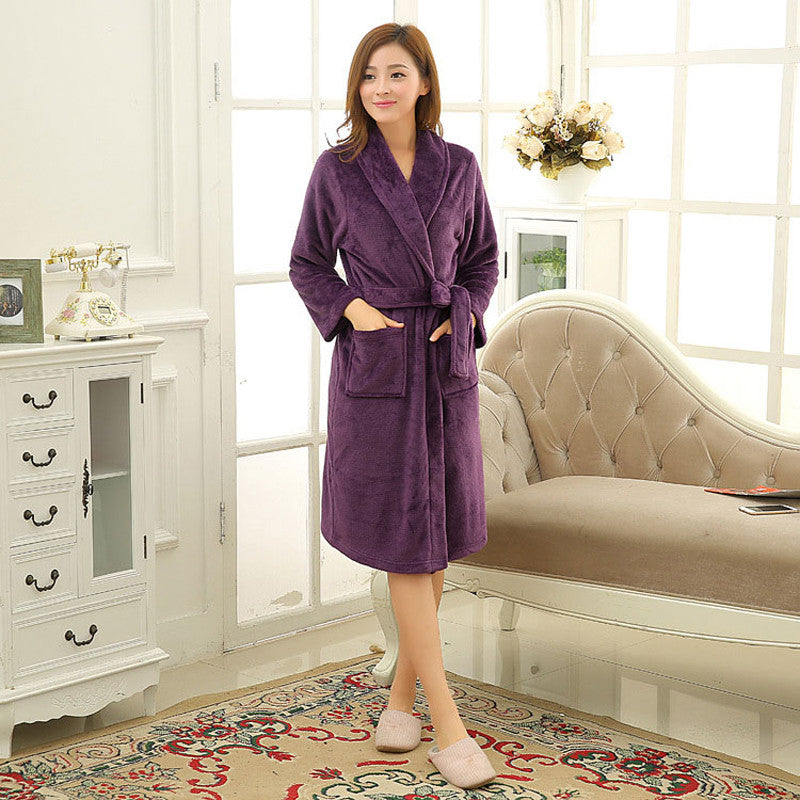 ba405d2ecf68 ... Hot Autumn Winter Bathrobe Home Thickening Couple Coral Cashmere Pajamas  Keep Warm Flannel Pajamas Men Women ...