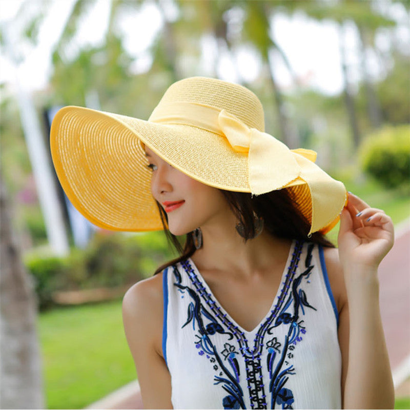 b3f2f3396 ... Hot Sale Summer Sun Hats For Women Large Brim With Ribbons Bow Beach Hat  Cap Ladies ...