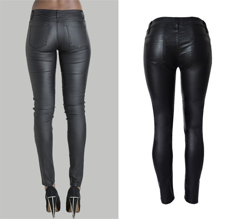 89e40d418f84d ... Hot Sale skinny leather PU fake zippers low waisted pencil pants full  length trousers jegging leggings ...