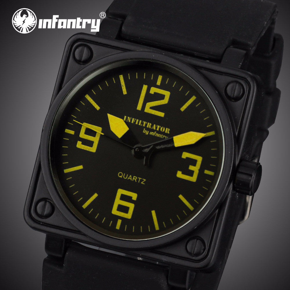 Infantry Mens Quartz Watches Military Square Face Watches Analog