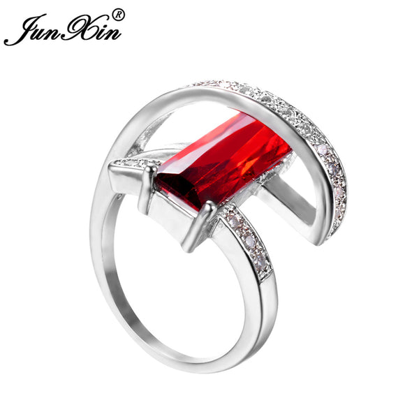 JUNXIN Charm Male Female Red Ring 925 Sterling Silver Filled