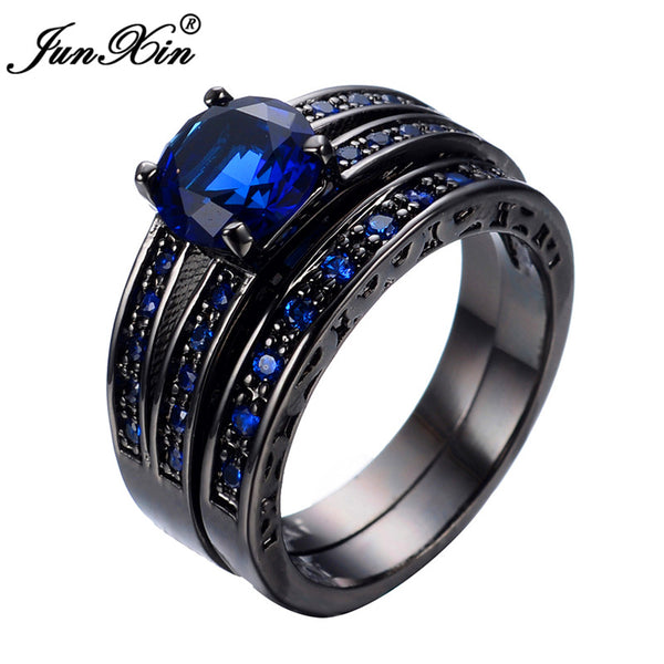 Junxin New Arrival Black Gold Filled Blue Jewelry Rings For Women And