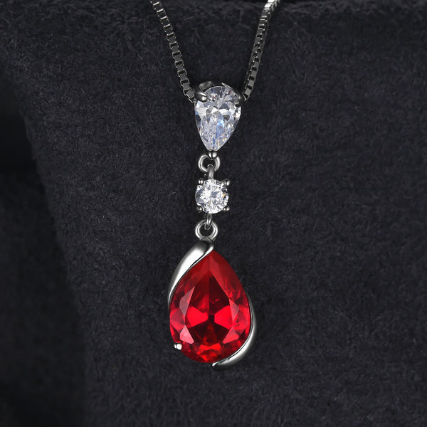 8e9d8351d2ed0 JewelryPalace 3.27ct Pear Red Created Ruby Drop Pendant 925 Sterling ...