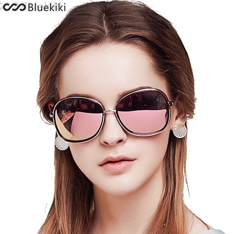 4115cf5336 KIKI Women Polarized Sunglasses Brand Designer Round Driving Oval Sun  Glasses UV 400 REVO Butterfly Pink