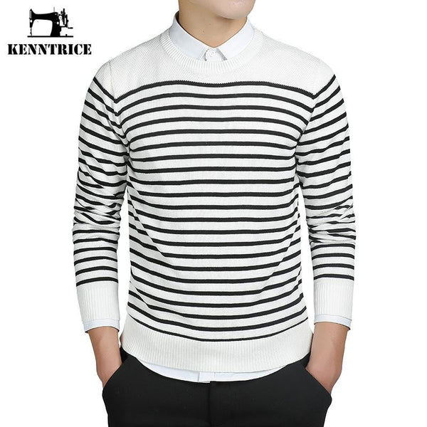 Kenntrice Striped Style Men Sweaters 100% Cashmere Knitted