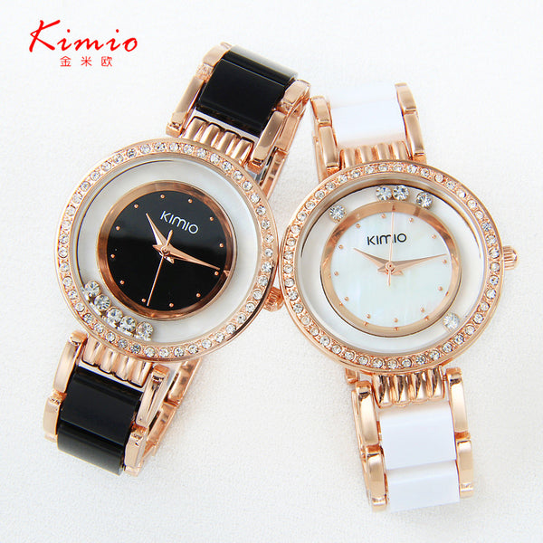 ... Kimio ultra slim Top Brand Woman watches Fashion Ladies Crystal Clock  Black Ceramics Gold Luxury Women ... 73e4fafebea2