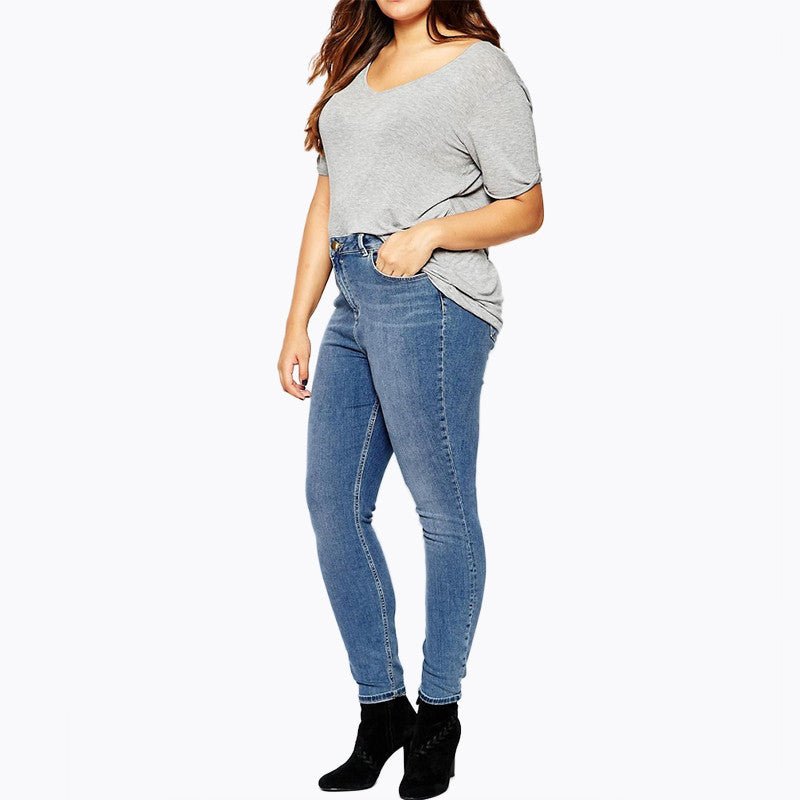 7a7f20fb4ff ... Kissmilk Plus Size Women New Fashion Casual Slim Jeans Big Large Size  individuality Shaping Tight Jeans ...