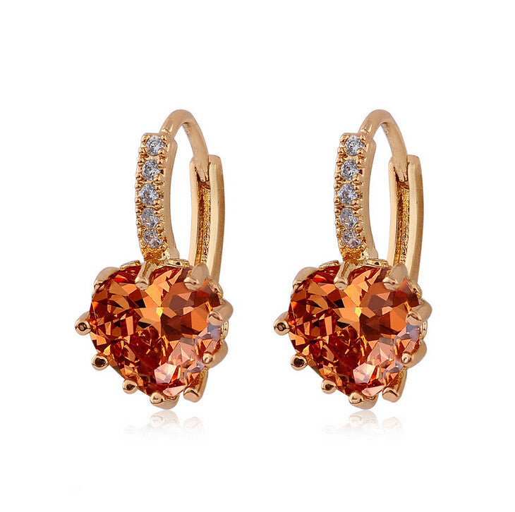 LUCKY YEAR New Design Gold Color Heart CZ Cubic Zirconia Womens hoop earrings