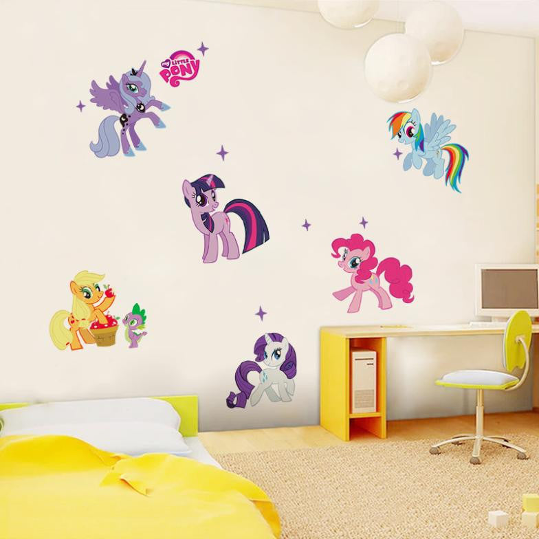 Lovely cartoon little pony wall stickers for kids rooms wall decals girls children nursery baby room
