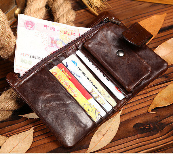 e6d4f6a7cd65 Luxury Vintage Casual 100% Real Genuine Cowhide Oil Wax Leather Men Short  Bifold Wallet Wallets Purse Coin Pocket Male Zipper