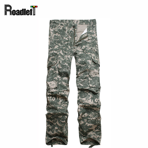 Male Workout Multi Pocket Military Camo Cargo Pants Mens Tactical