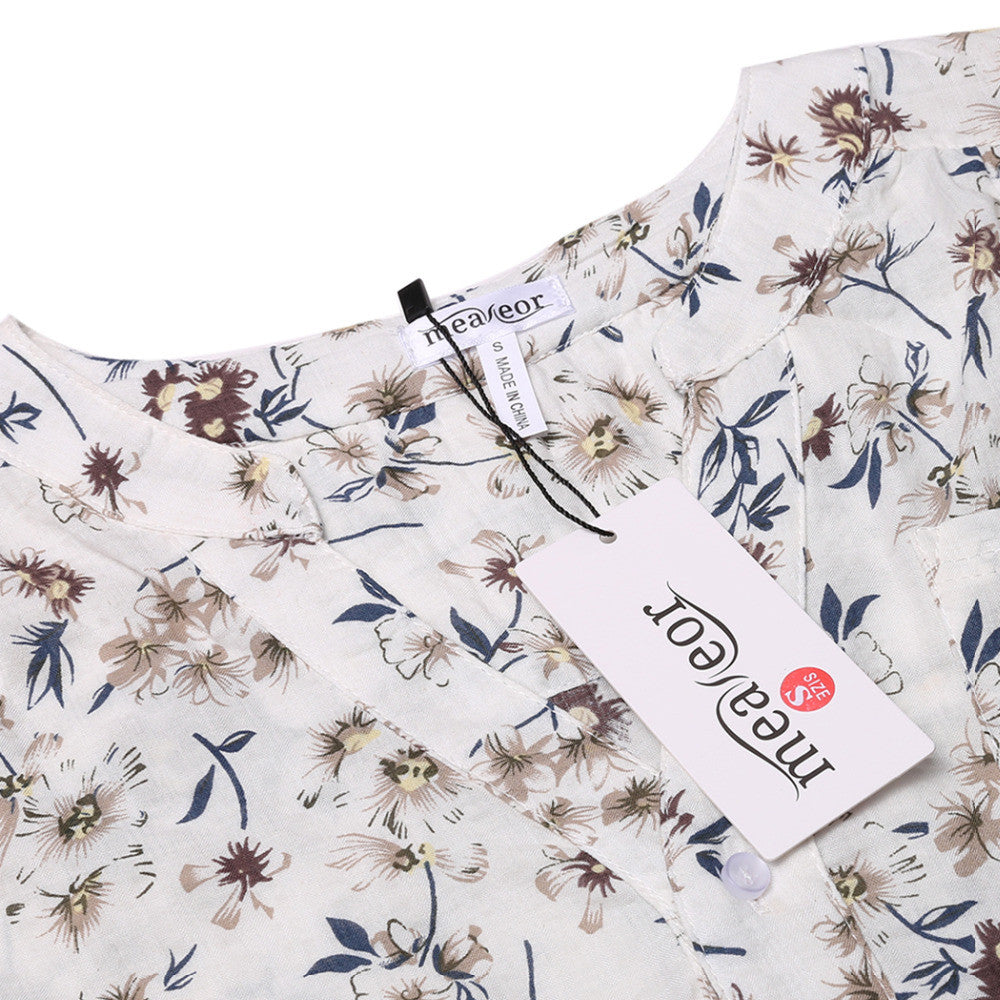 dd6913e8 ... Meaneor Women Floral Print Blouse Tops 1950s 60s Vintage Autumn  Clothing Casual Roll Up Sleeve Cotton ...
