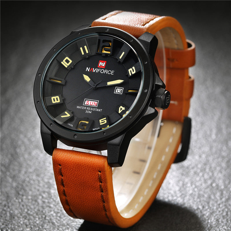 361a8b7b0 ... Men Watches NAVIFORCE Brand Military Reloj Quartz Analog 3D Face  Leather Army Fashion Clock Sports Watch ...