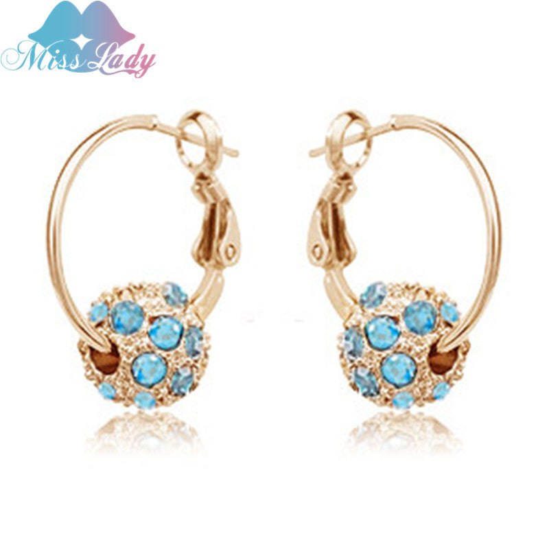 ac7778a219f1d Miss Lady 2017 Gold color Rhinestone Crystal Luxury color Round Hoop  Earrings Wholesale Fashion Jewelry for women Y4193