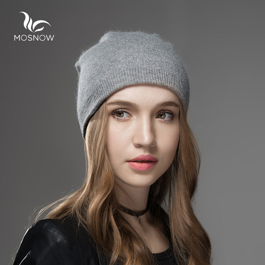 d3ae0b1067adb Mosnow 2016 New Solid Wool Winter Hats For Women Asymmetrical Knitted Vogue  Brand Casual Warm Hat ...