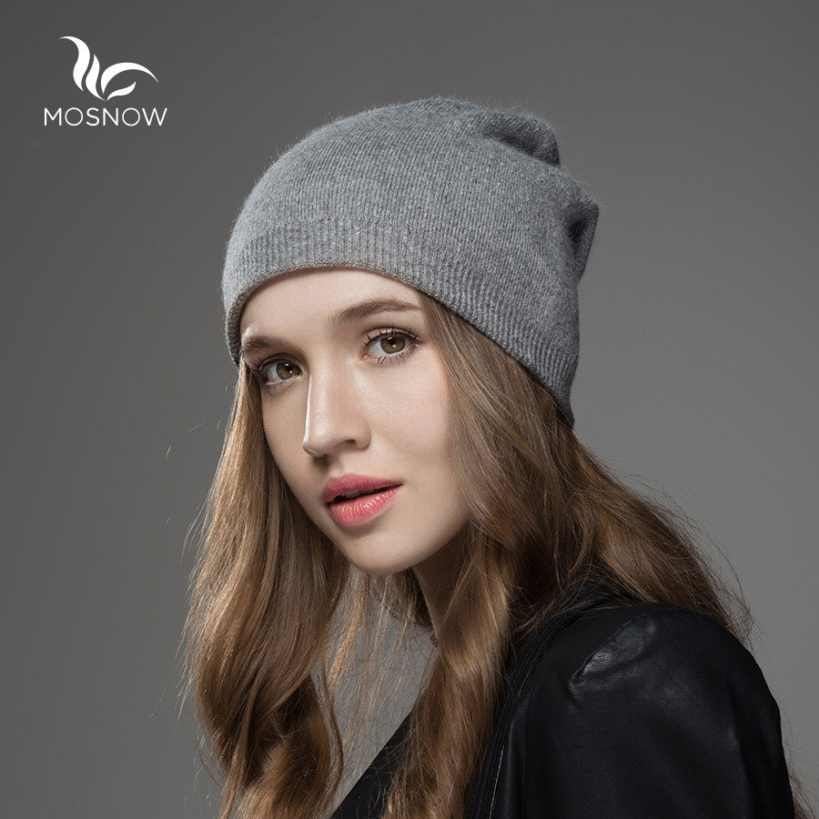 e1a518383ae6c ... Mosnow 2016 New Solid Wool Winter Hats For Women Asymmetrical Knitted  Vogue Brand Casual Warm Hat ...
