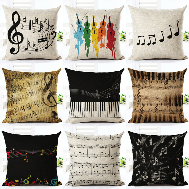 Music Series Note Printed High Qulity Cotton Linen ...