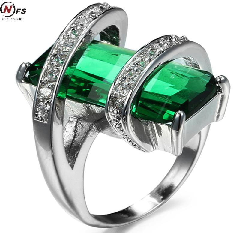 NFS Elegant White Gold Filled CZ Ring Vintage Wedding Rings For Women  crystal Christmas Gift Rings With Big Stones