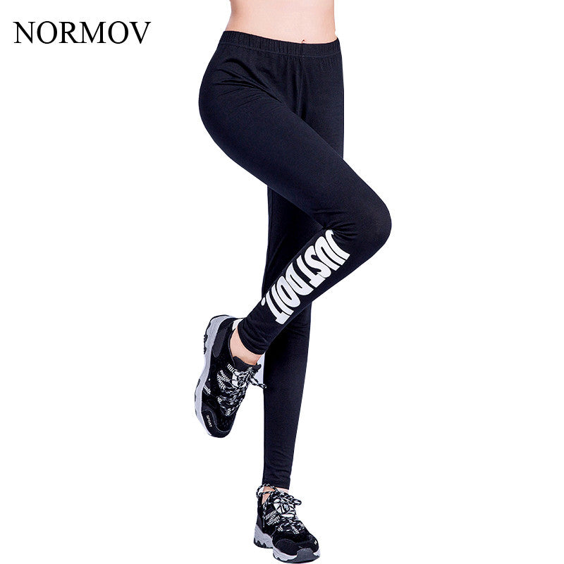 047346dc492f5 ... NORMOV S-XL 19 Colors Women Leggings Workout Plus Size Just Do It Pink  Printed ...
