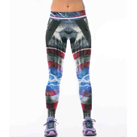 8d3caf3701077 New 22 Styles Captain America 3D Printing Women Leggings Fitness Sexy New  Stretch Dancing Workout Legging