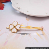 New Clover Leaves Gold Plated Hair Clip Barrettes Hair Accessories Fashion Girls Women Cute Heart Headwear Hairpins