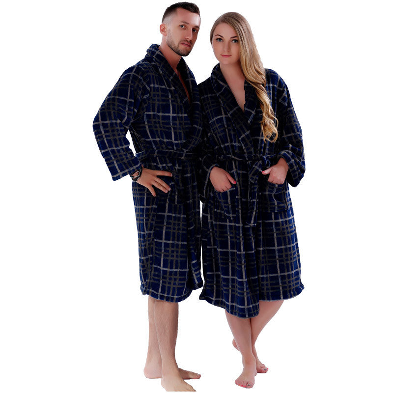 6138852683 ... New Couples Coral Fleece Bath Robe Navy Plaid Nightgown Sleepwear Plus  Size Bathrobe Dressing Gown For ...