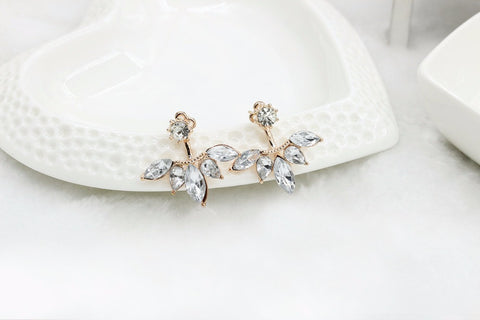 New Crystal Flower Stud Earrings For Women Fashion Ear Jacket Piercing Earing Koyle e012