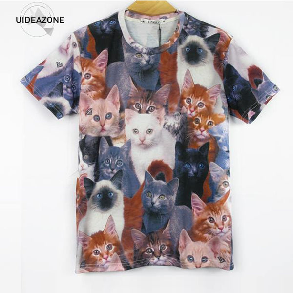 35c631a448173 New Fashion Women Men 3d Animal Print T Shirt Cute Cats Double Printed  Funny t-