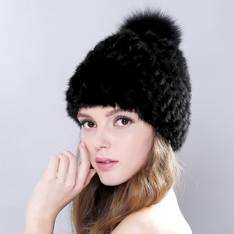 9ad8b25a247 New Lovely Real Mink Fur Hat For Women Winter Knitted Mink Fur Beanies –  Raja Indonesia
