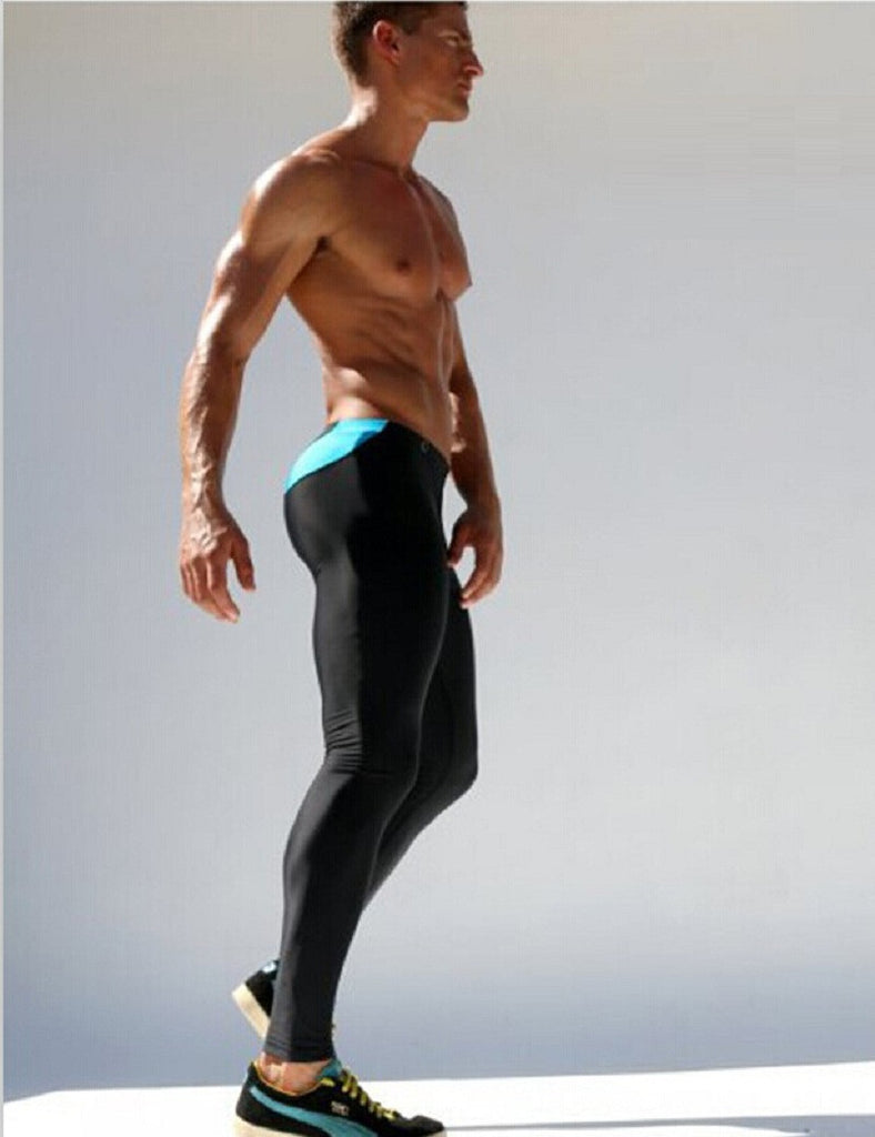 New Mens Joggers Spliced Tight Ankle Sweatpants Spandex Tights Sportin