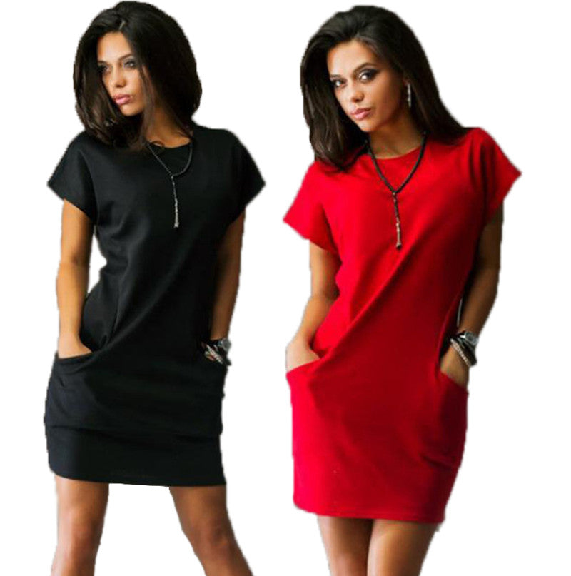 37f3ed957190 New fashion women casual mini dress Black and Red solid color short sl –  Raja Indonesia