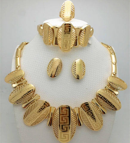 5de231584 Fashion African Jewelry sets gold-color Crystal Wedding Women Bridal  Accessories nigerian Flower Pattern for