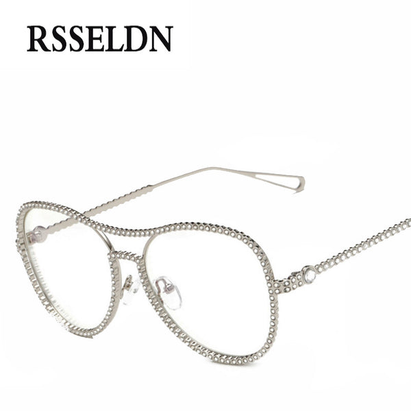 Newest Rhinestone Eyeglass Frames Female Women Oversized Fashion ...