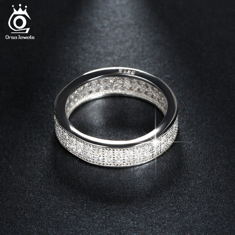 a6357ff1749a ... ORSA JEWELS Full Set Luxury CZ Ring Micro Paved 76 Pieces Shiny Austrian  Crystal SilverColor Wedding ...