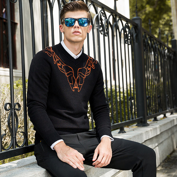 Oscn7 Black Round Neck Fancy Print Sweaters For Men 2017 New Fashion